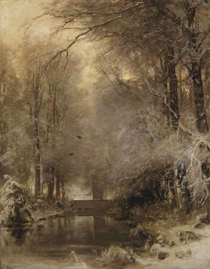 A forest in winter,  Louis Apol. Dutch (1850 - 1936)