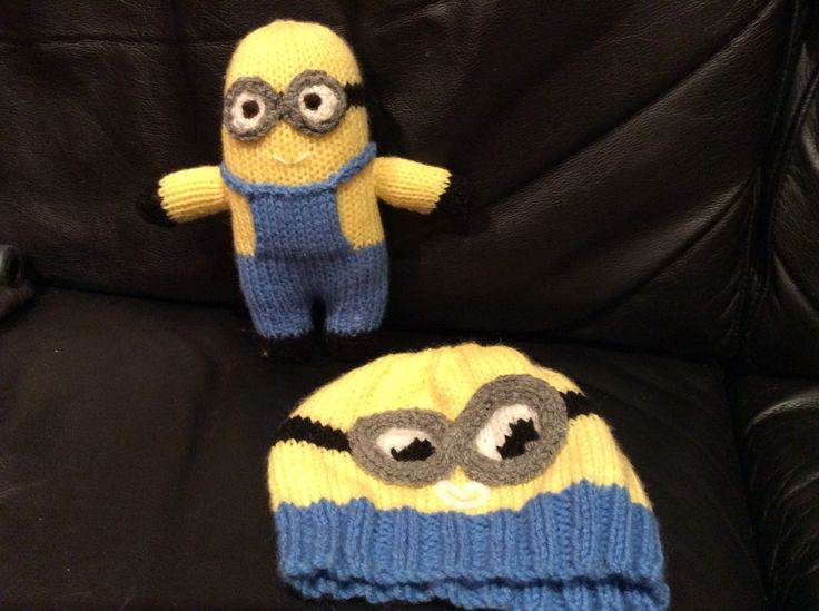 Minion and minion hat using free knitting patterns
