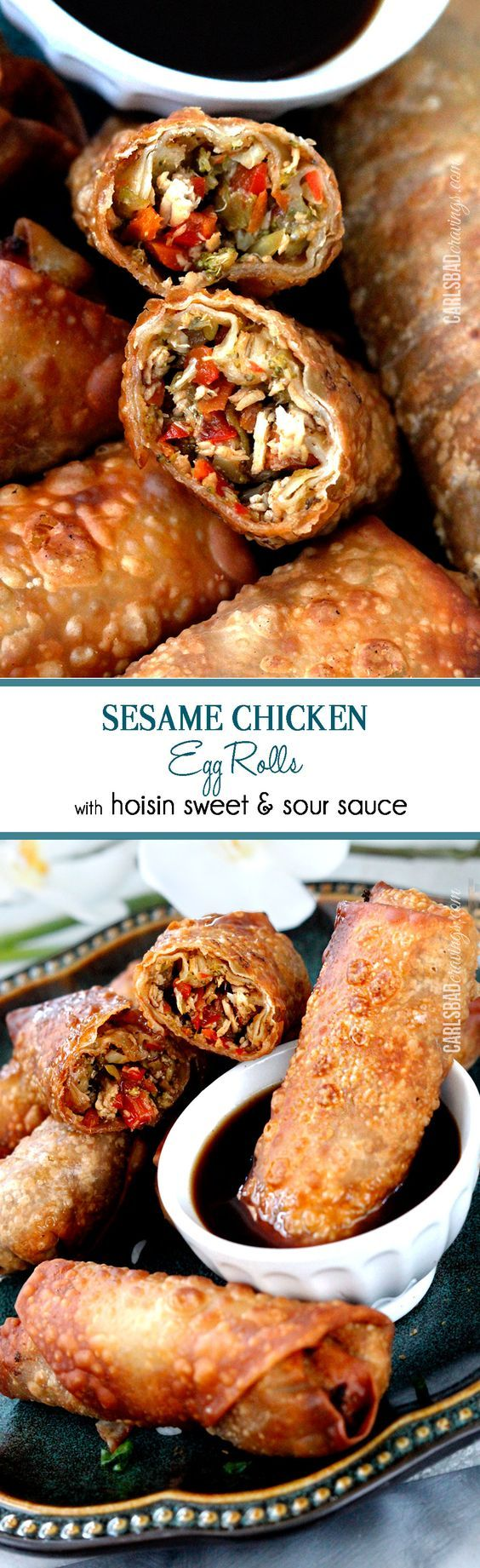 BEST egg rolls I've ever made or had and so fast made with premade skillet sauce. I am bringing these to all my holiday parties!