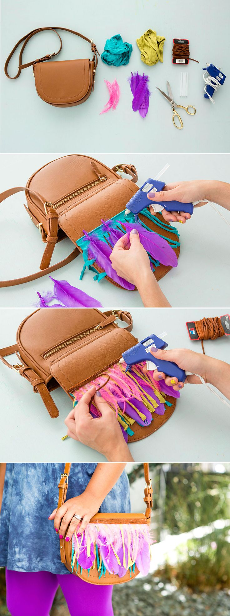 There are only three steps to making the perfect boho fringe and feather bag for summer. 1. Cut a piece of jersey fabric to match the width of your purse flap. Fringe that jersey! 2. Use hot glue to attach your materials in an alternating pattern – fringe, feathers, fringe, feathers. 3. Hot glue the suede cord to cover up the tips of your feathers.