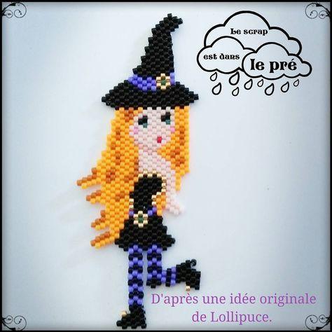 Pour fêter Halloween quoi de mieux qu''une sorcière pin up. Basé sur le modèle de @lollipuce. #pinupmiyuki #lescrapestdanslepré #motifdelollipuce #miyuki #challengesmiyukisaddicts #witch #pinup #sorcieres #halloween #magie #jenfiledesperlesetjassume #perleaddict #perlezmoidamour