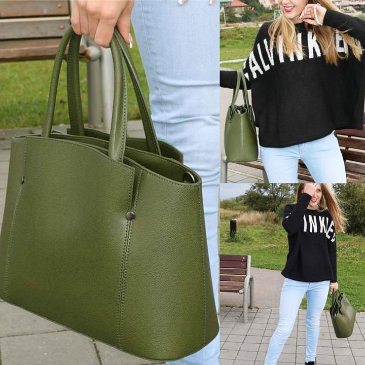 Oživte podzimní počasí touto koženou kabelkou Vera Pelle v zelené barvě. Kombinujte k černé, béžové a bíle barvě. #emotys #emotyscz #koženakabelky #slevy #zelenekoženakabelka#podzímnípočasí #calvinklein #černá #samat #irma #