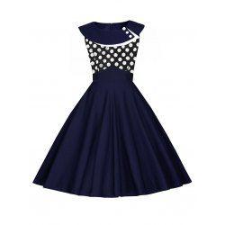Vestido Do Vintage Do Às Bolinhas - PURPLISH BLUE S