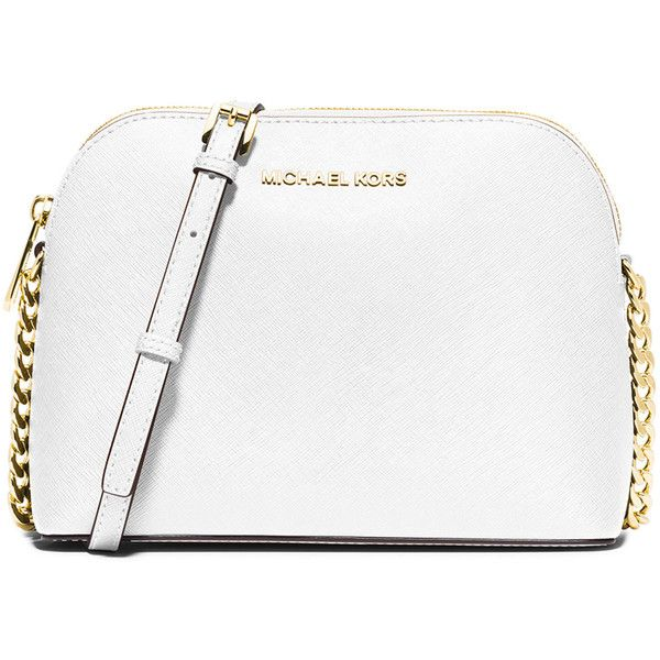 4a45c958a12c MICHAEL Michael Kors Cindy Large Dome Crossbody Bag ($180) ❤ liked on  Polyvore featuring bags, handbags, shoulder bags, optic white, white…