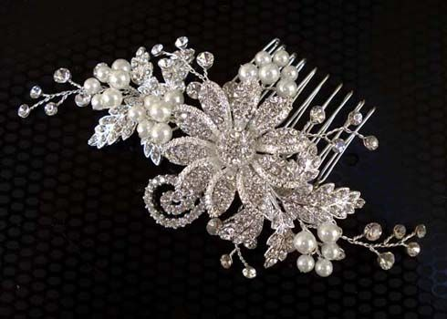 Beautiful bridal headpiece with freshwater pearls from Brides Unlimited
