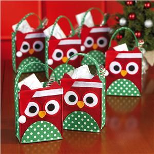 Card idea: Christmas Owl Felt Treat Bags
