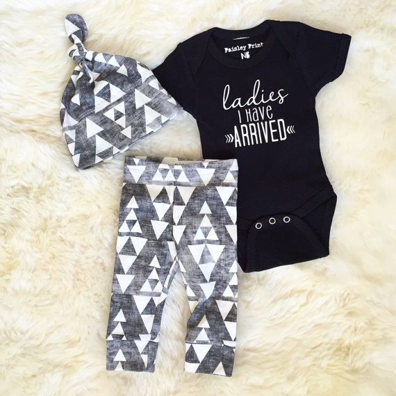 $58.95 (+$4) -- Baby gift set Ladies I have arrived | baby boy take home outfit | tribal print organic leggings | hipster baby | baby boy outfit | baby must have |