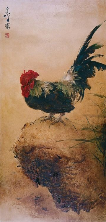 A Rooster by Lee Man Fong (1913-1988).