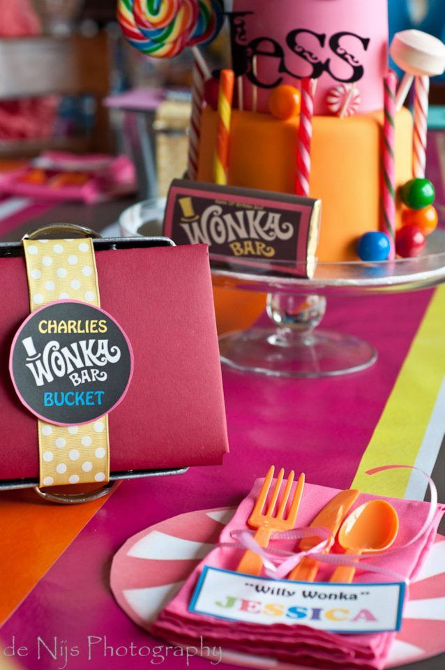 Look at this Charlie and the Chocolate Factory birthday party on Kara's Party Ideas! It would be a cute sweet shoppe or candy party, too! Found here- www.KarasPartyIdeas.com