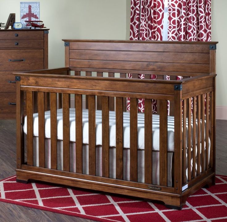 Classic lines and modern materials combine to inspire the Redmond collection. You will love the versatility and style of the rich cherry finish and sturdy, craftsman-era hardware that create a unique, timeless collection that will impress for years to come. The 4-in-1 convertible crib grows with your child by converting into a crib, toddler bed, day bed and full bed. Quality construction will last for years. Strong metal mattress support adjusts to two heights.  Crib is constructed of solid…