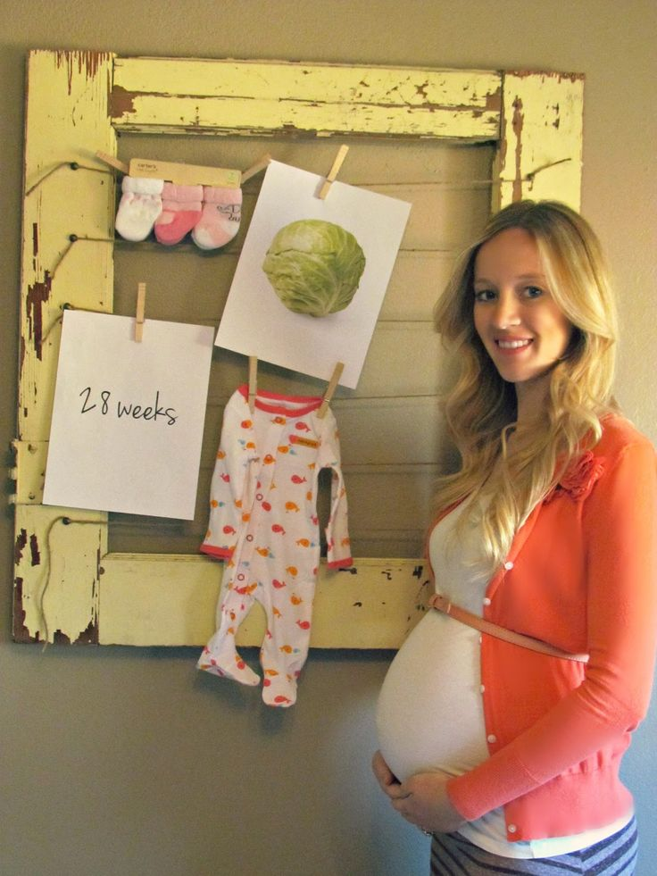 way to track pregnancy- picture of weeks, size compared to fruit/vegetable, clothes/toys bought, ultrasound etc
