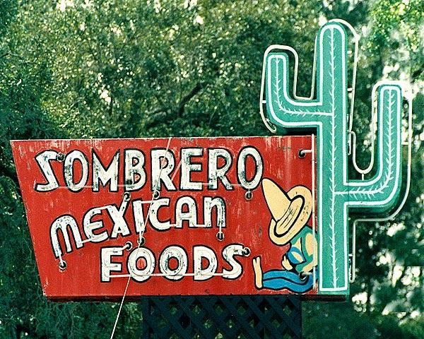 'The Sombrero Mexican food restaurant' sign which sits proudly in Albuquerque, New Mexico, offering the best in southern boarder dining.
