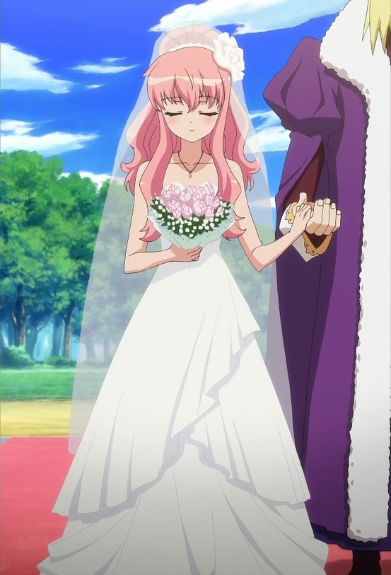 louise on her and saitos wedding day