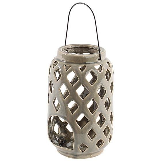 Nice #ceramic #lantern in grey color with metal handle www.inart.com