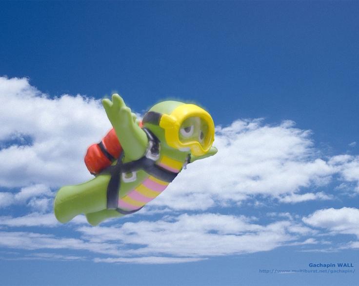 Gachapin Skydiving!  from http://www.multiburst.net/gachapin/