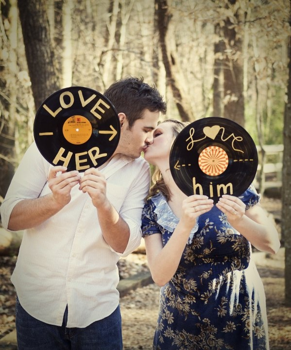 engagement photo inspiration...vinyl...could also do your save the date on these!