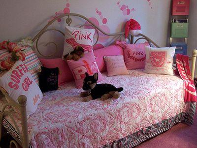 Victoria Secret bedroom interior and bedding + pillows
