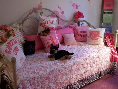 Victoria Secret bedroom interior and bedding + pillows