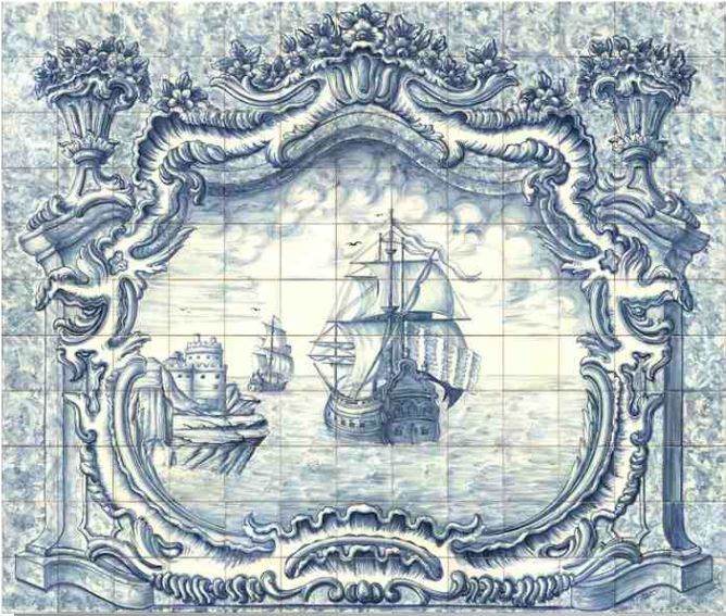 #azulejos #bateau réf: cerb_136_3_1  #mer #carrelage #tile #boat #sea #decoration #bleu #blue