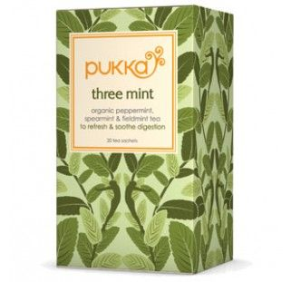 Three Mint tea is everything a mint tea should really be - sweet yet intensely fresh with a delicately aromatic scent. Three delicious varieties of mint leaves have been used to create the fullest flavour. It will help support digestion and refresh the palate. www.pukkaherbs.com