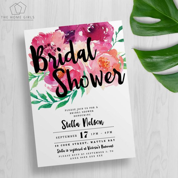 Printable Floral Bridal Shower Invitation / Kitchen Tea / Bachelorette / Wedding…