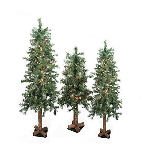 Felices Pascuas Collection Set of 3 Pre-Lit Woodland Alpine Artificial Christmas Trees 4' 5 and 6'' - Clear