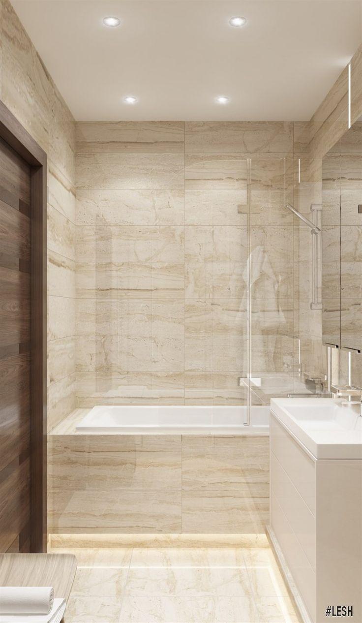 Light bathroom | LESH (design interior, bathroom small, lamp, light, bathtub, idea, desert colour)
