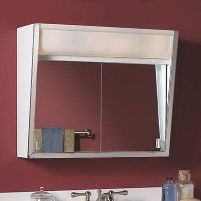"""28"""" x 19.5"""" Surface Mount Medicine Cabinet with Lighting"""