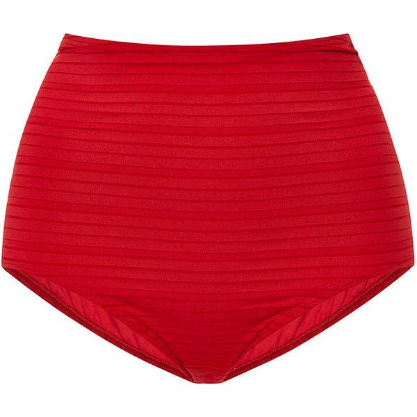 Prism Hollywood High-Waisted Bikini Bottom ($130) ❤ liked on Polyvore featuring swimwear, bikinis, bikini bottoms, swim, swimsuits, bikini, shorts, red, beach bikini and high waisted retro bathing suits