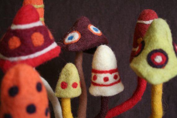 Psychedelic decoration felted magic mushroom by Trippyhandmades