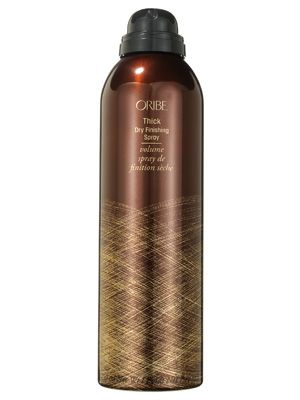 Oribe Thick Dry Finishing Spray adds texture and fullness to hair while locking styles in place