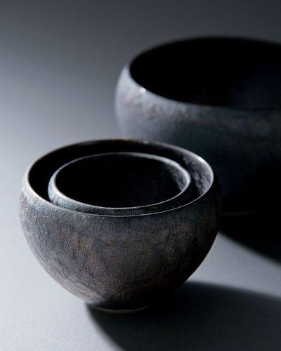 炭彩 : tansai, set of bowls by maebata, japan