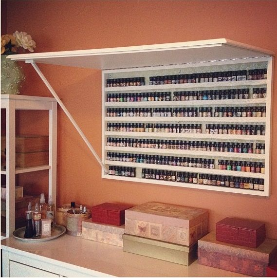 """idea for storing stamps, bottles of glitter & embellishments, etc. (scented oils shown) - could cover front w/corkboard and use as an """"idea"""" center ***** Nora Canava u need to make this"""