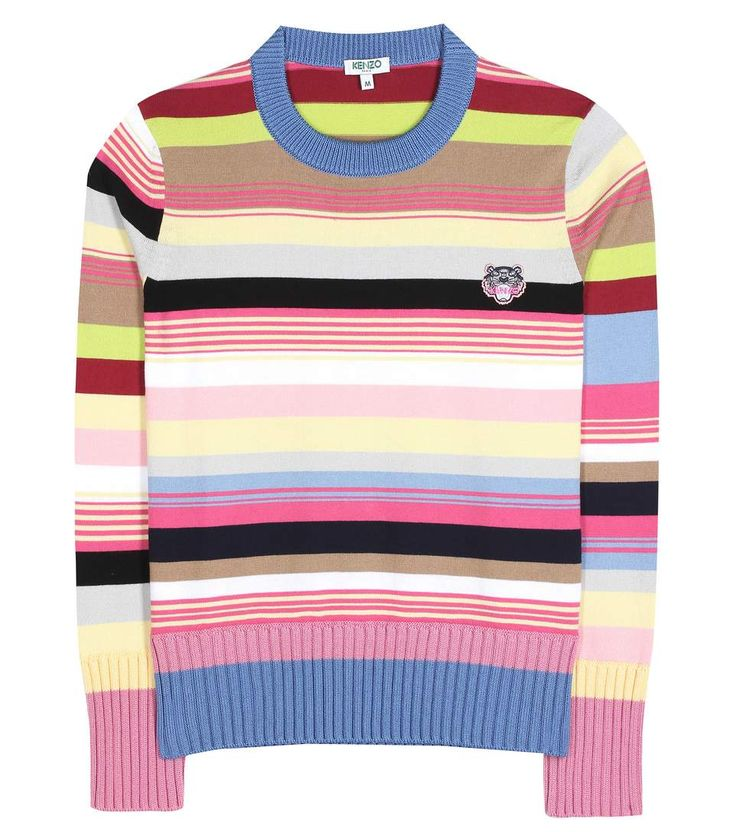 KENZO - Cotton-blend sweater - Revamp your wardrobe of sweaters with this vibrant design from Kenzo. The cotton-blend knitted piece comes in multicoloured stripes for a look with contemporary flair. The relaxed fit makes it ideal for styling with slim jeans or denim skirts. - @ www.mytheresa.com