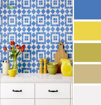 Si tu enchape de #cocina es #azul, combinalo con colores calidos. #Mosaico #Fez #conipisos #decoracion