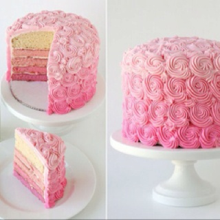 Gorgeous pink rosette cake