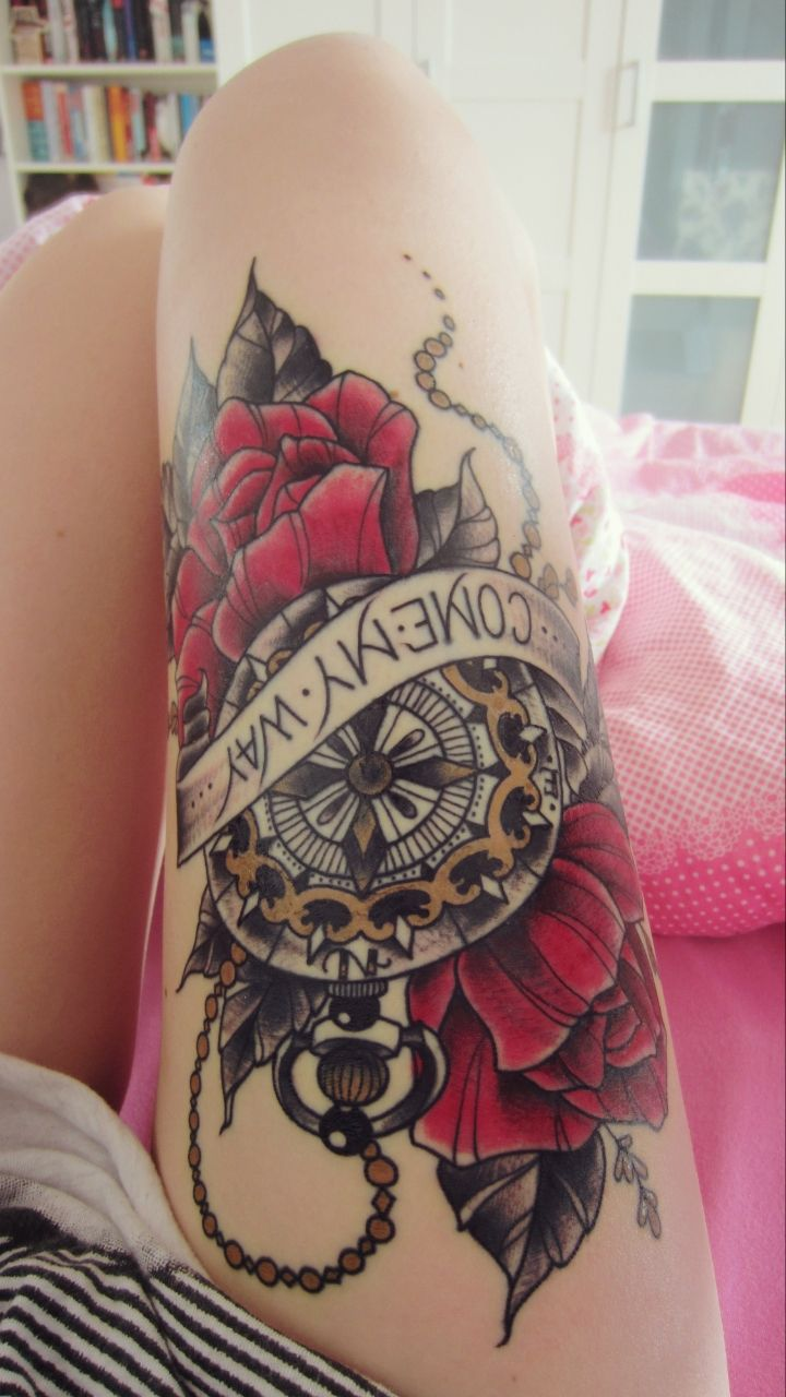 i need a thigh tattoo pretty in ink pinterest first tattoo compass tattoo and flower. Black Bedroom Furniture Sets. Home Design Ideas