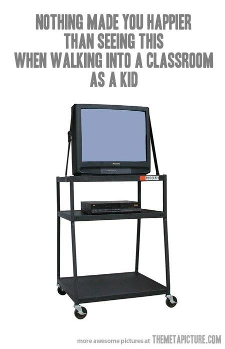 ROFL, so true :) Of course, I'm so old I remember when it was the film projector instead of the tv!