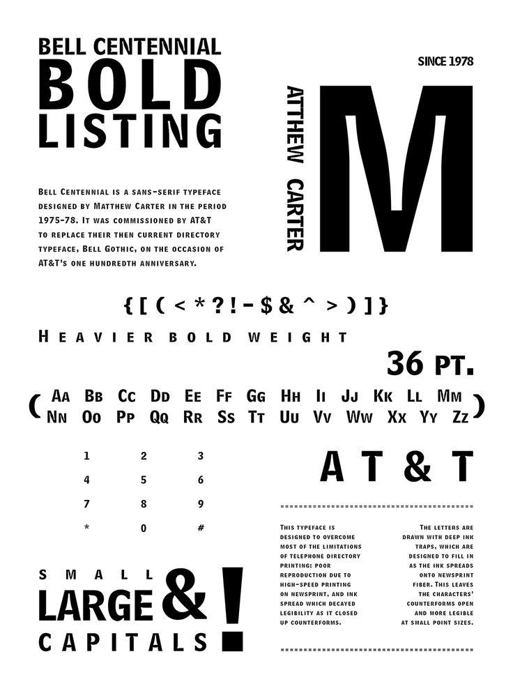 Bell Centennial  Sans-serif Humanist 1978 Matthew Carter Poster by Dayna Lee