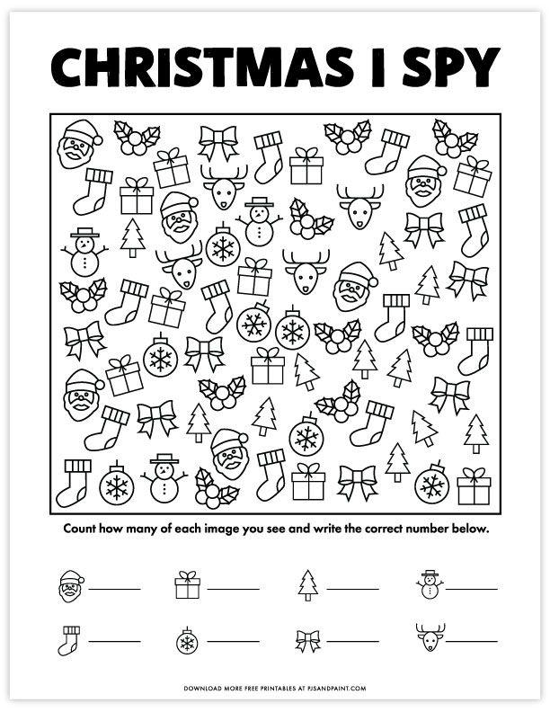 Free Printable Christmas I Spy Game Version 2 Free Christmas Printables I Spy Games Spy Games For Kids
