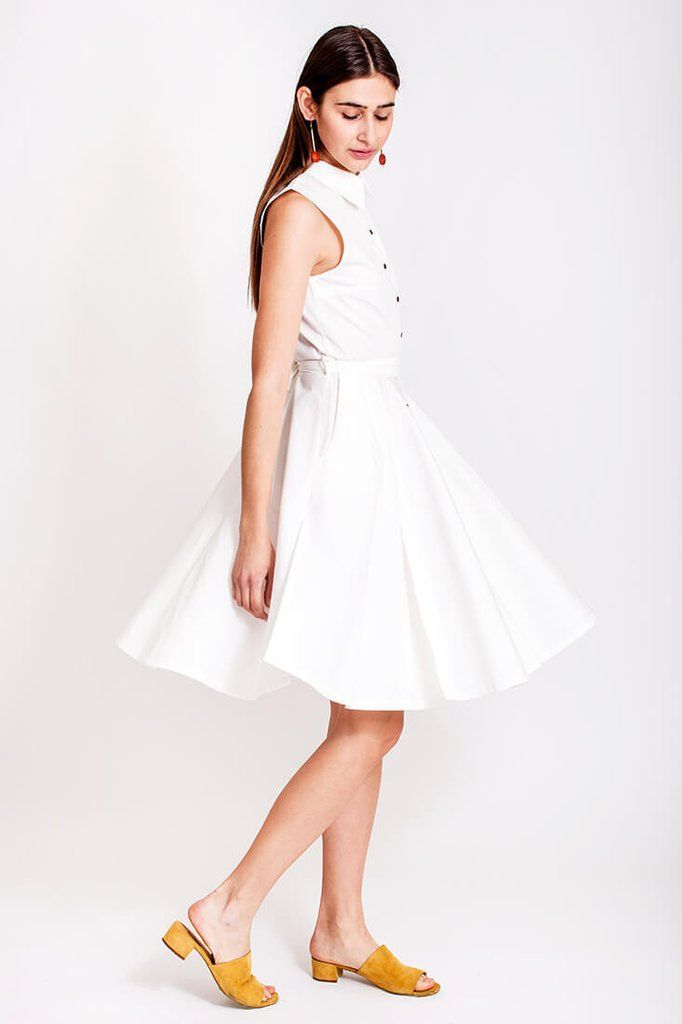 White cotton dress by Dott. The turquoise blue water and a white dress is like a match made in heaven. The white cotton dress from the Otherwise collection fits perfect to a warm summer day, strolling along the promenade, the wind blowing in your hair and making the dress swirl around. There is plenty of volume in the dress so with this dress on we welcome a bit of wind.    €135.00 REPIN TO YOUR OWN INSPIRATION BOARD