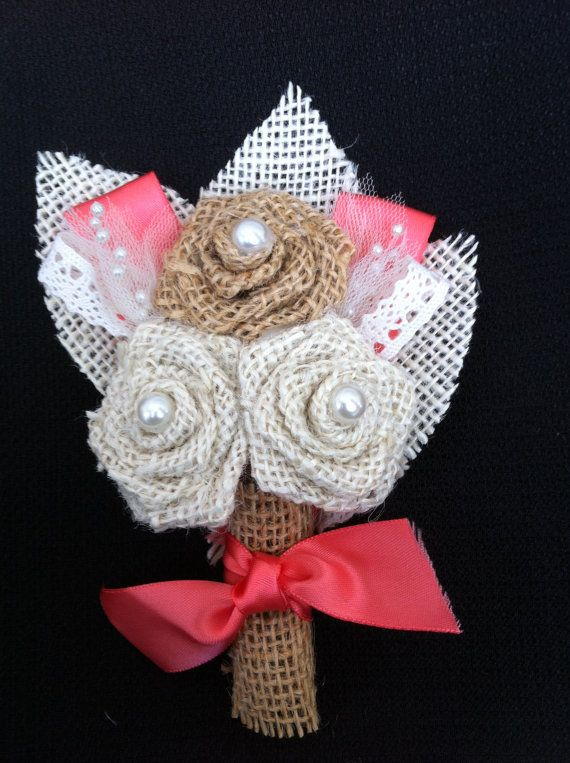 Custom Burlap Corsage  Mixed rose 3 with Coral by RoundRockCrafts, $18.00