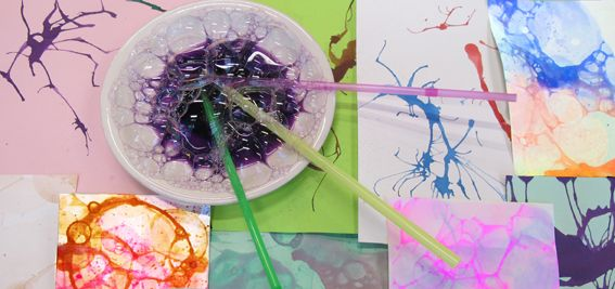 Straw painting and bubble graphics!  (26 February – 11 May 2014) Bubbly, funny, creative birthday activities for people celebrating his their birthdays, and for guests.