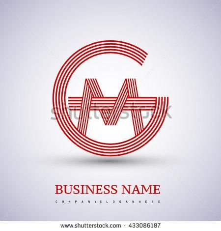 Letter GM or MG linked logo design circle G shape. Elegant red colored letter symbol. Vector logo design template elements for company…