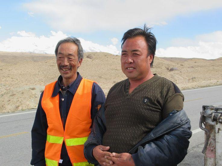 Chinese workers on the Karakoram Highway  between Kashgar and Tashkurgan, Xinjiang, China.
