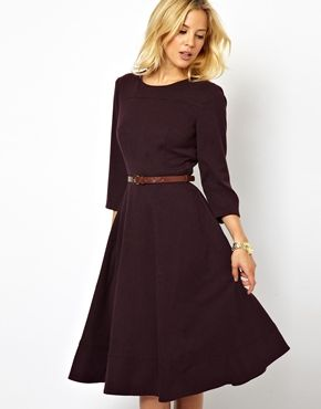 ASOS Midi Dress With Belt - warm in winter A friend of mine wears thid dress and she looks so sophisticated in it!