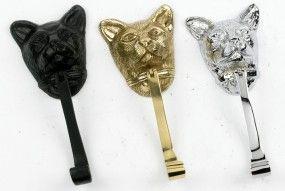 Полированная латунь Cat головой дверной молоток - Cat Дверные молотки