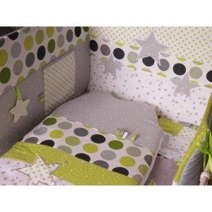 """Thème chambre bébé,""""Etoiles et pois / vert anis, gris, blanc"""" : Tour de lit, gigoteuse évolutive... - ( Réf.TD15)"""