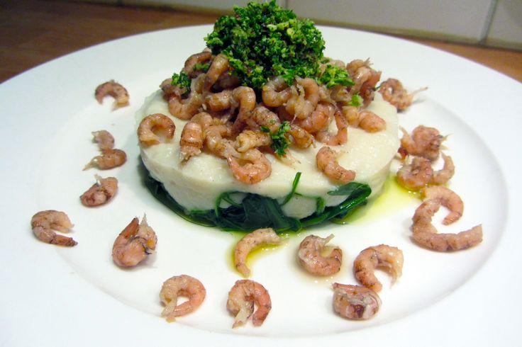 Garnalen met gepureerde bloemkool (Pascale Naessens) - www.Recepten.be