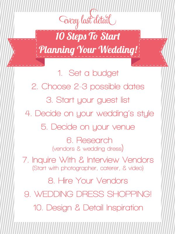Newly Engaged? 10 Steps To Start Planning Your Wedding! via @S Every Last Detail®